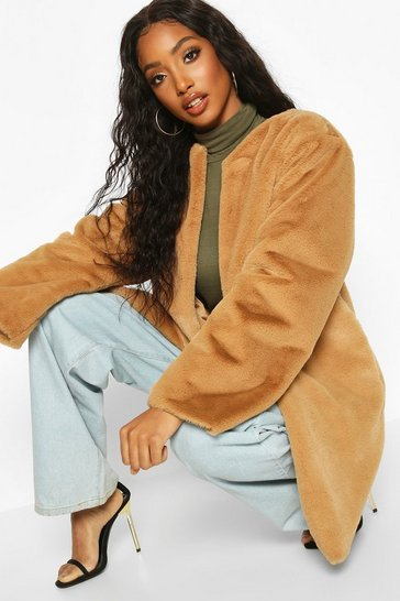 Camel Collarless Faux Fur Coat