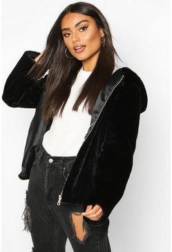 Black Hooded Faux Fur Coat