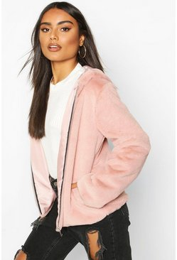 Hooded Faux Fur Coat, Dusky pink, Femme