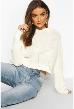 Knitted Cropped Hoodie, Cream, Femme