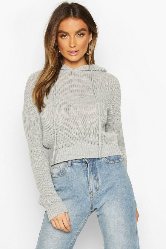 Knitted Cropped Hoodie