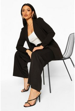 Womens Black Ruched Sleeve Blazer