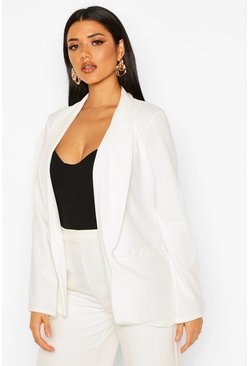 Womens White Ruched Sleeve Blazer