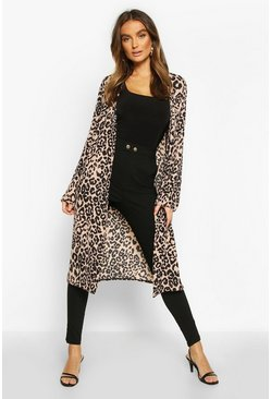 Leopard Print Duster, Natural, ЖЕНСКОЕ