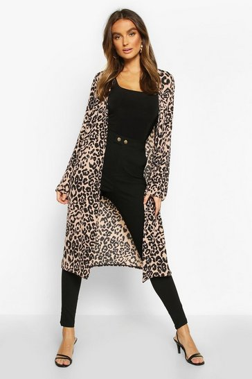 Womens Natural Leopard Print Duster