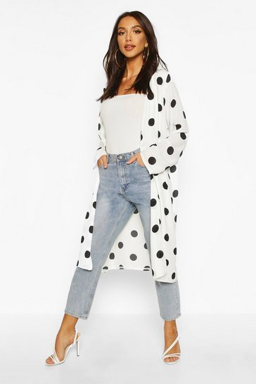 Womens White Polka Dot Duster