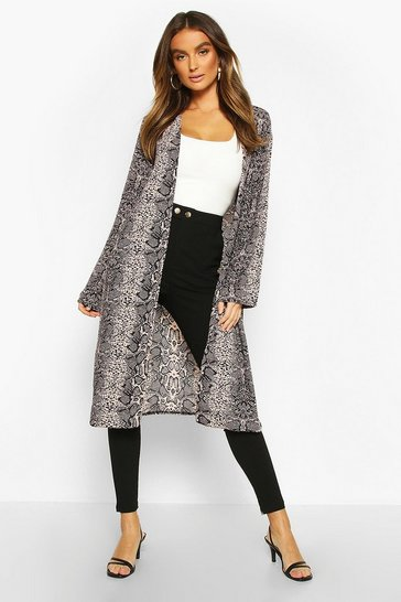 Womens Natural Snake Print Duster