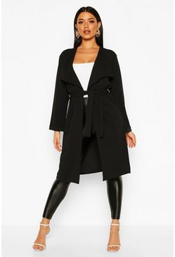 Womens Black Belted Collared Duster