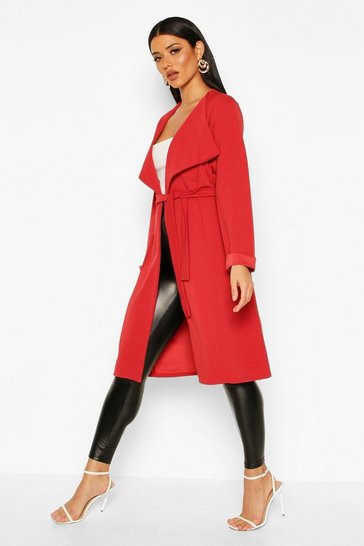 Womens Rust Belted Collared Duster