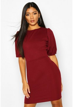 Puff Sleeve Midi Dress, Berry, MUJER