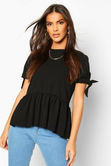 Womens Black Crepe Tie Sleeve Smock Peplum Top