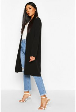 Womens Black Longline Duster