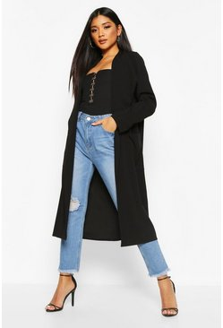 Womens Black Pocket Thick Duster Coat