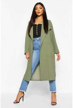 Womens Khaki Pocket Thick Duster Coat