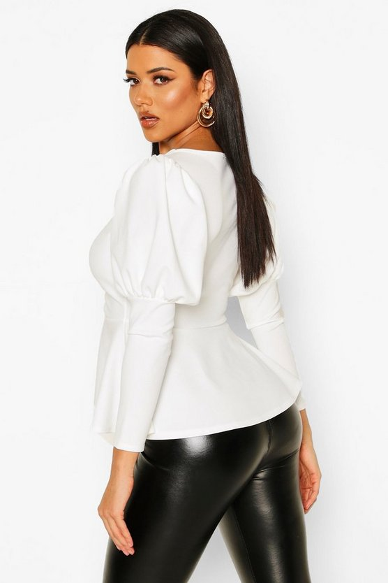 Ruched Bust Puff Sleeve Peplum Top