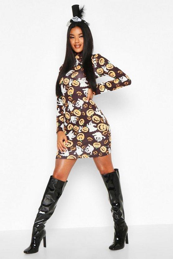 Pumpkin Print High Neck Bodycon Dress