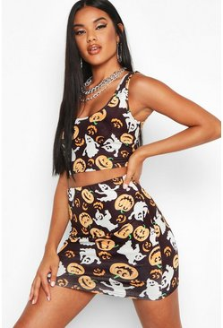 Womens Black Pumpkin Print Mini Skirt And Crop Top