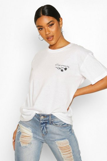 Womens White Rose Slogan Pocket Print T-Shirt