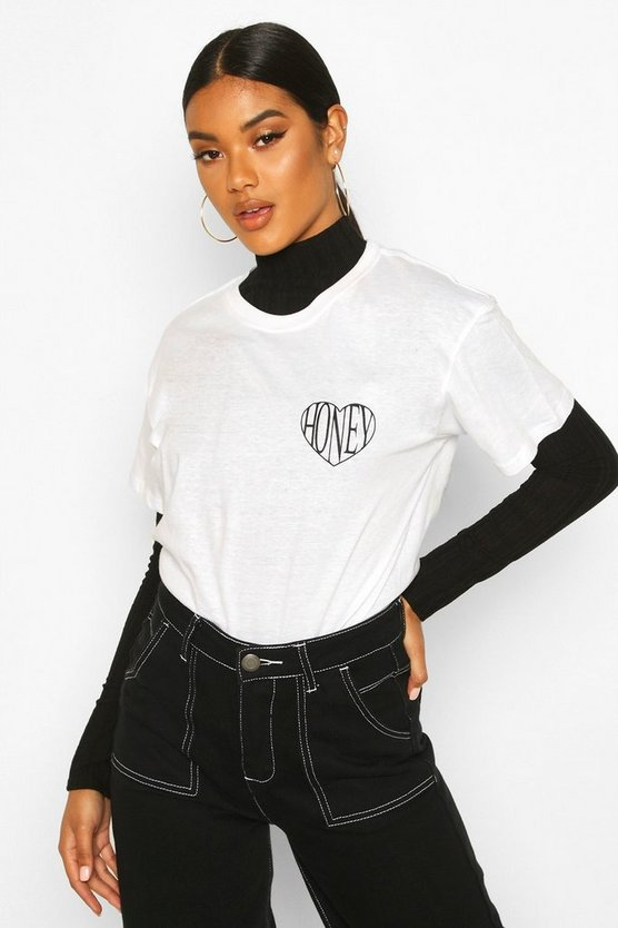 White Honey Heart Pocket Print T-Shirt