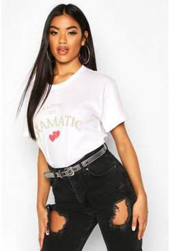 White Dramatic Heart Print Slogan T-Shirt