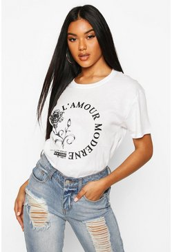 Rose L'Amour Slogan T-Shirt, White, FEMMES