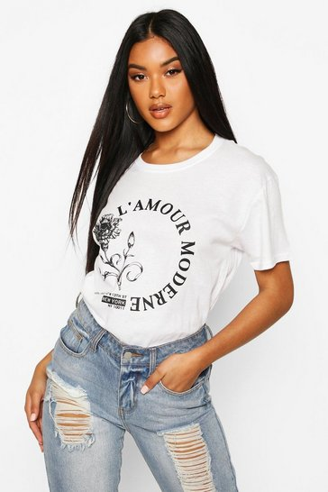 Womens White Rose L'Amour Slogan T-Shirt