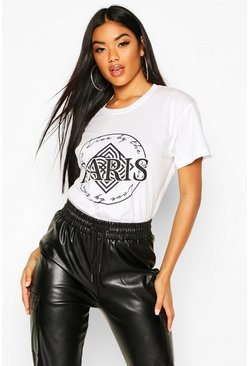 White Paris Geo Slogan T-Shirt