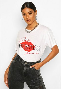 White Lip French Slogan T-Shirt