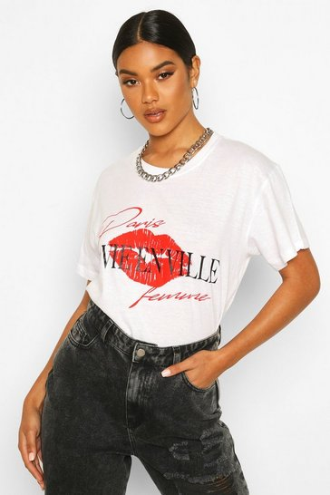 Womens White Lip French Slogan T-Shirt