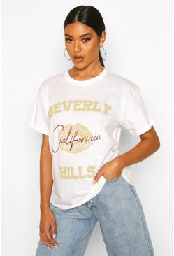 White Beverly Hills Lip Slogan T-Shirt