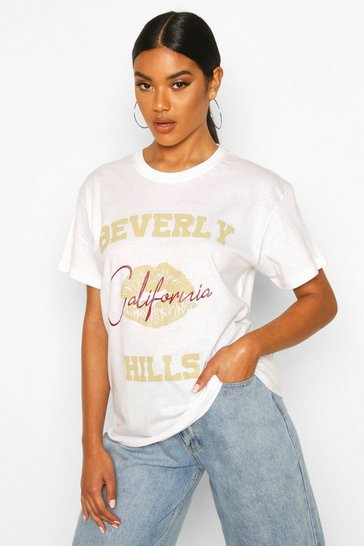 Womens White Beverly Hills Lip Slogan T-Shirt