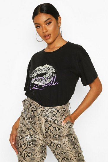 Womens Black Snake Ups Slogan T-Shirt