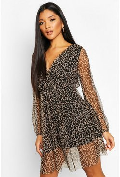 Brown Leopard Mesh Wrap Skater Dress