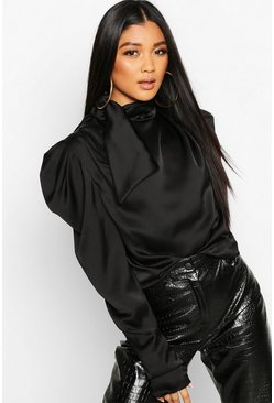 Black Satin Tie Neck Puff Shoulder Blouse