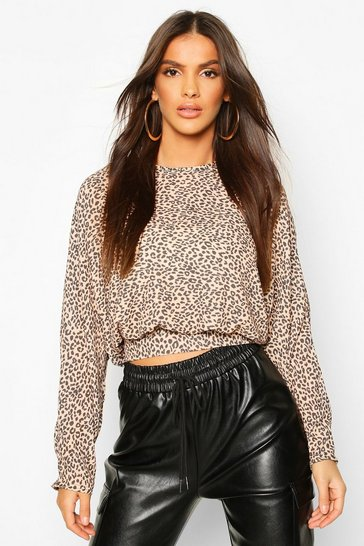 Womens Natural Woven Leopard Shirred Waist Woven Crop Top
