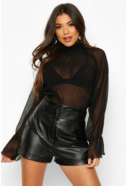 Black High Neck Crinkle Fabric Sheer Blouse