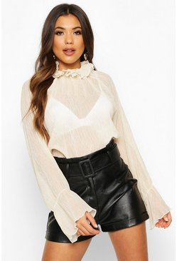 Cream High Neck Crinkle Fabric Sheer Blouse