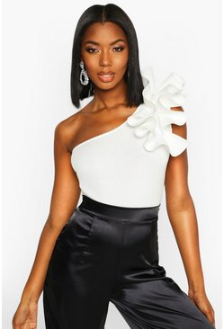 Womens White Bonded Scuba One Shoulder Ruffle Bodysuit