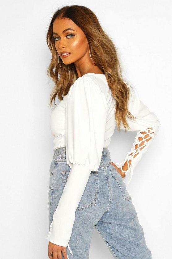 Crepe Puff Sleeve Lace Cup Detail Top