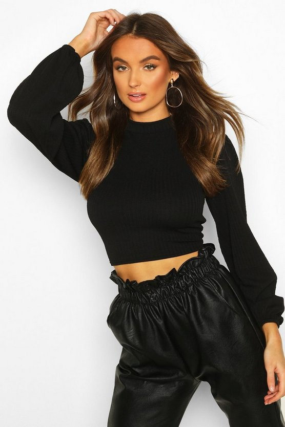 Womens Black Textured Rib Puff Sleeve High Neck Top