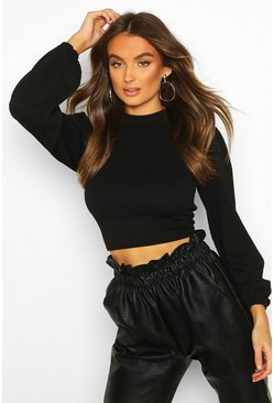 Black Textured Rib Puff Sleeve High Neck Top