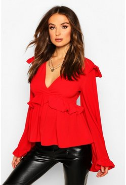 Red Frill Detail Smock Top