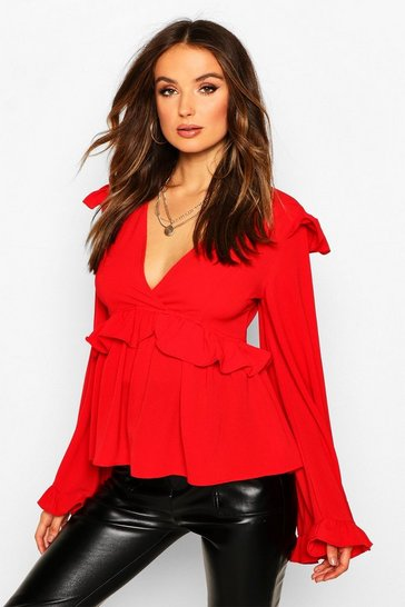 Womens Red Frill Detail Smock Top