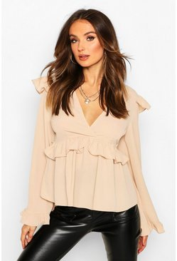 Womens Stone Frill Detail Smock Top