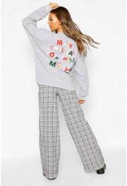"Disney Metalic """"Merry Christmas"""" Sweat, Grey"