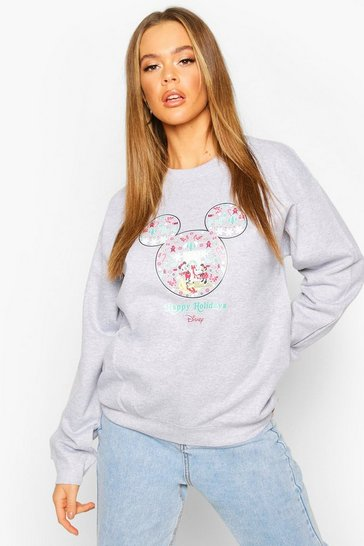"Womens Grey Disney """"Happy Holidays"""" Christmas Sweatshirt"