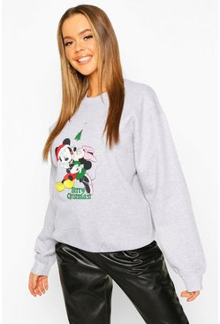 "Disney """"Merry Christmas"""" Mickey and Minnie Sweat, Grey, Donna"