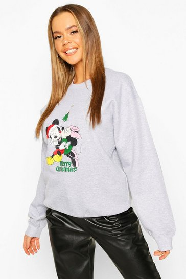 "Womens Grey Disney """"Merry Christmas"""" Mickey and Minnie Sweat"