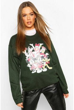 Womens Green Disney Mickey and Friends Xmas Sweat