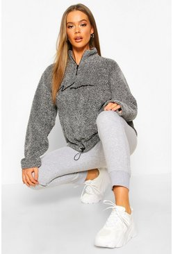 Charcoal Woman Hoodie i fleece med brodyr och kort dragkedja